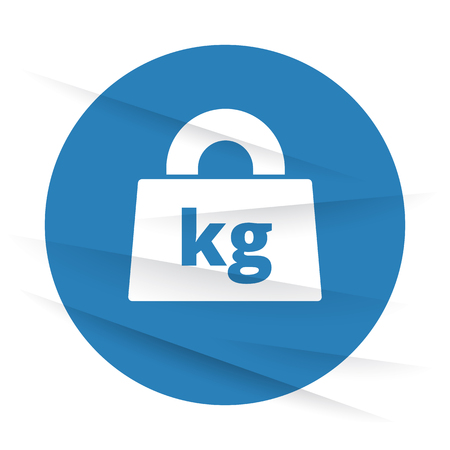 kilograms: White Weight Kilograms icon label on wrinkled paper