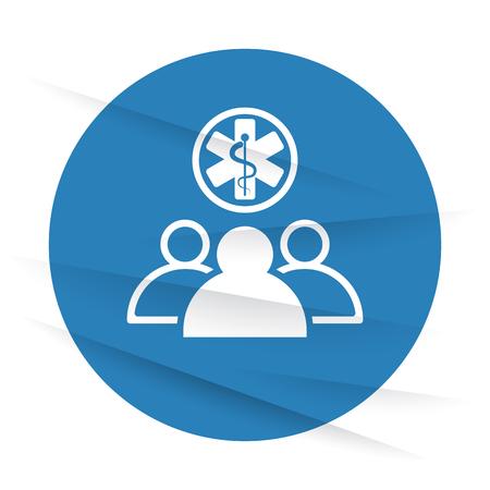 medical team: White Medical Team icon label on wrinkled paper