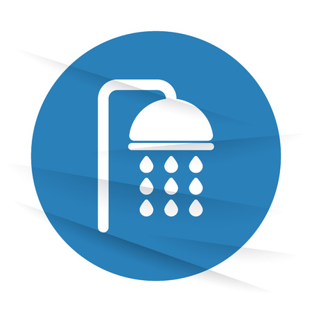showering: White Shower icon label on wrinkled paper