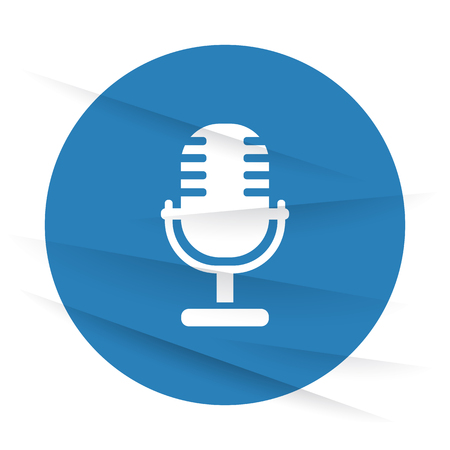 pod cast: White Microphone icon label on wrinkled paper