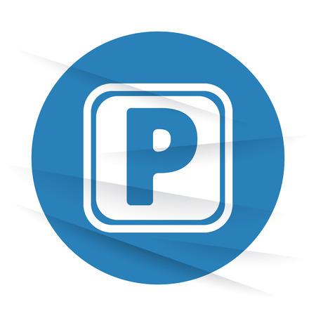 wrinkled paper: White Parking icon label on wrinkled paper Illustration