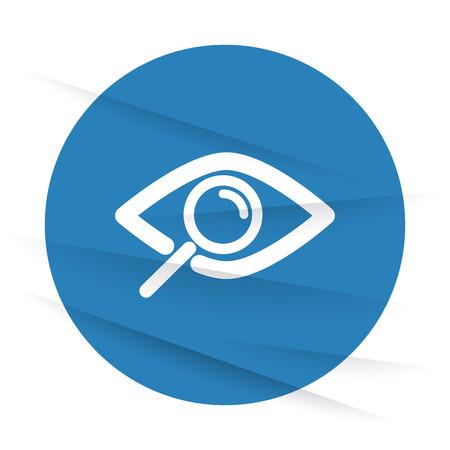 White Observation icon label on wrinkled paper