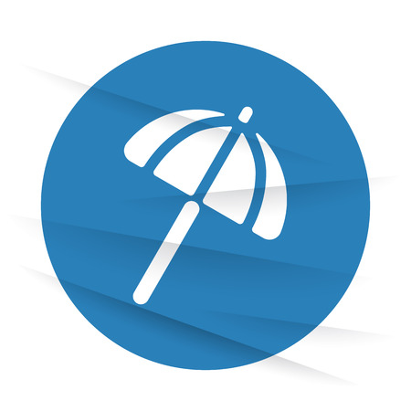 parasol: White Parasol icon label on wrinkled paper Illustration