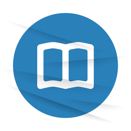 reading app: White Book icon label on wrinkled paper
