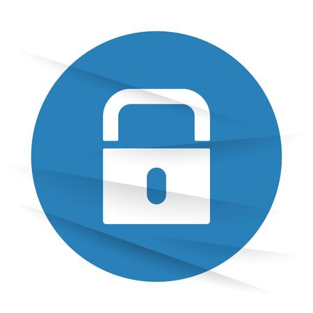 wrinkled paper: White Lock icon label on wrinkled paper Illustration