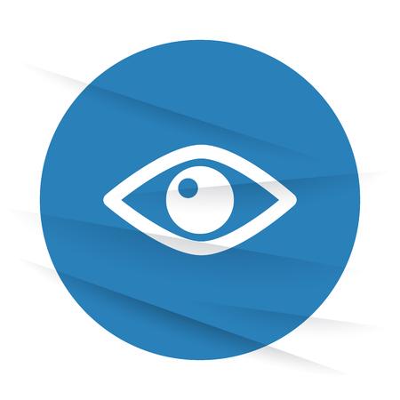 wrinkled paper: White Eye icon label on wrinkled paper Illustration