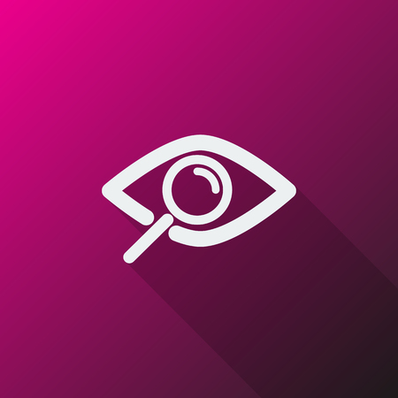 observation: White Observation icon on pink background Illustration