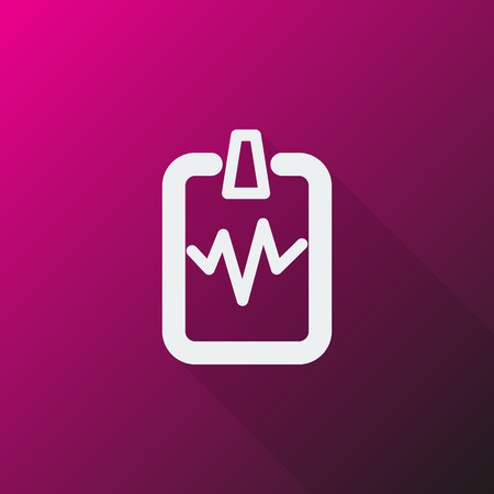 cardiogram: White Cardiogram Clipboard icon on pink background