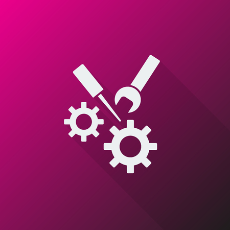 adjusting: White Service icon on pink background