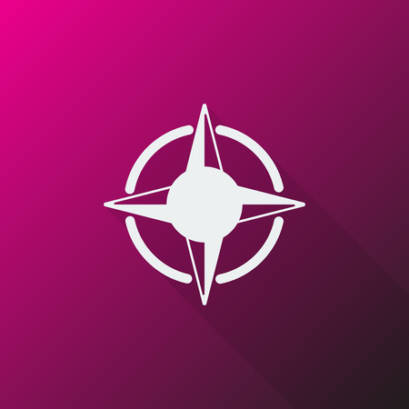 compass rose: White Compass Rose icon on pink background