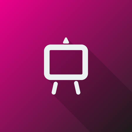 easel: White Easel icon on pink background Illustration