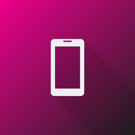 mobile phone icon: White Mobile Phone icon on pink background