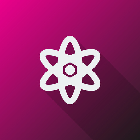 fusion: White Nuclear icon on pink background