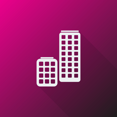 skyscrapers: White Skyscrapers icon on pink background