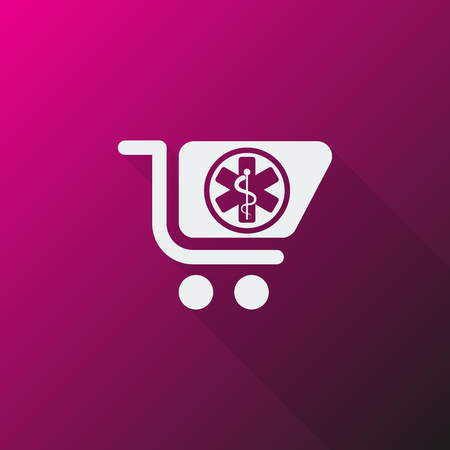pharmacy store: White Pharmacy Store icon on pink background