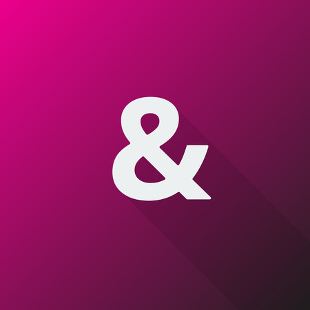 ampersand: White Ampersand icon on pink background