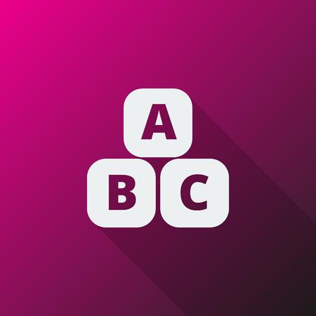 reading app: White Abc Blocks icon on pink background Illustration