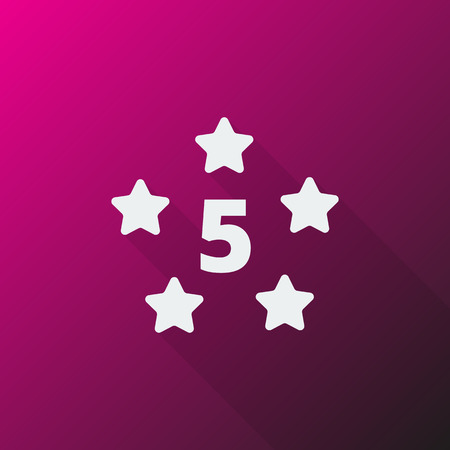 five star: White Five Star icon on pink background