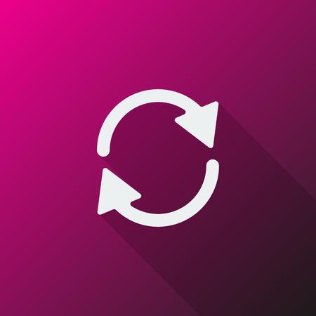 refresh icon: White Refresh icon on pink background Illustration