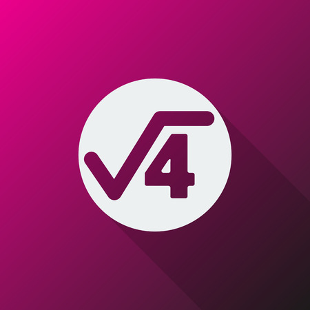 square root: White Square Root icon on pink background