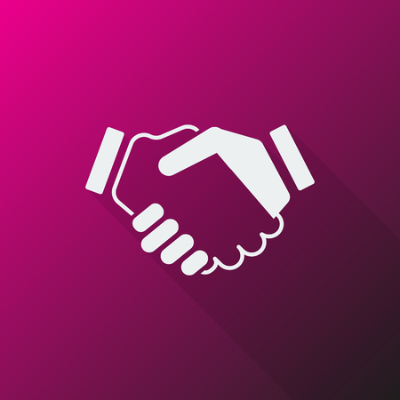 you are welcome: White Handshake Agreement icon on pink background