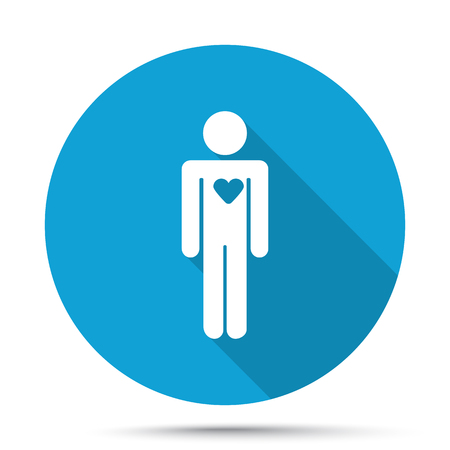heart failure: White Heart icon on blue button isolated on white