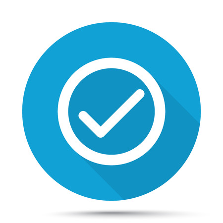 confirm: White Confirm icon on blue button isolated on white