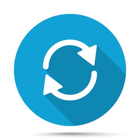 refresh icon: White Refresh icon on blue button isolated on white