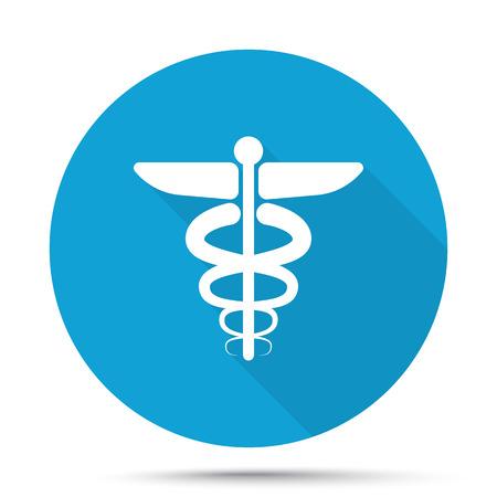 esculapio: El icono blanco S�mbolo m�dico en el bot�n azul aislado en blanco