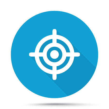 White Target icon on blue button isolated on white
