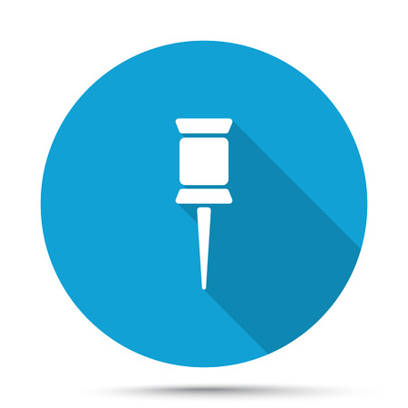 white pushpin: White Pushpin icon on blue button isolated on white