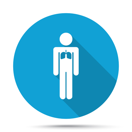 respiration: White Lungs icon on blue button isolated on white Illustration