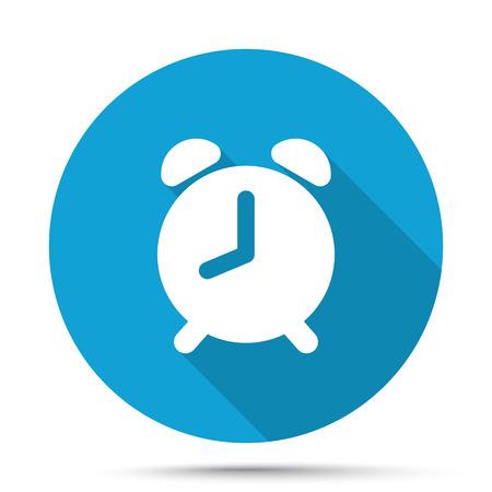 awake: White Alarm Clock icon on blue button isolated on white