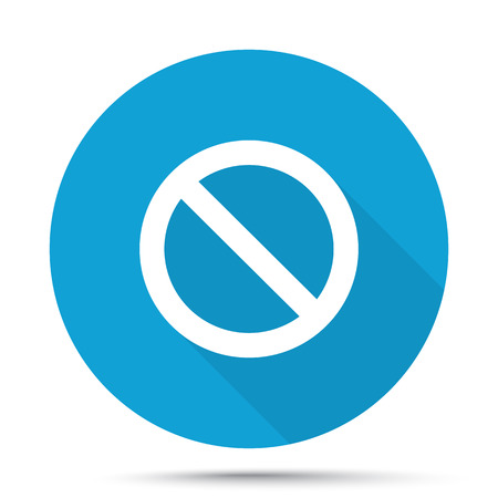 suppression: White Forbidden icon on blue button isolated on white