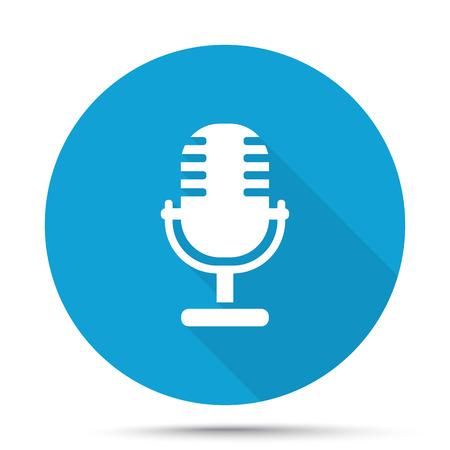 pod cast: White Microphone icon on blue button isolated on white