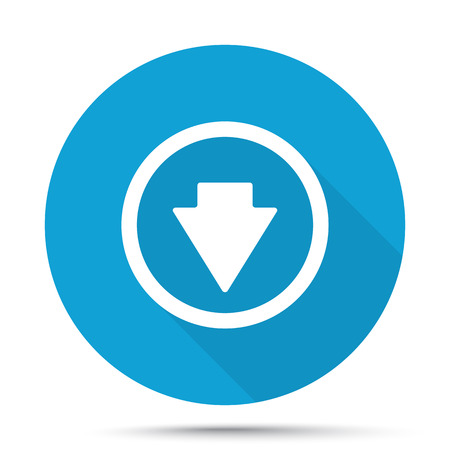 arrow down icon: White Arrow Down icon on blue button isolated on white
