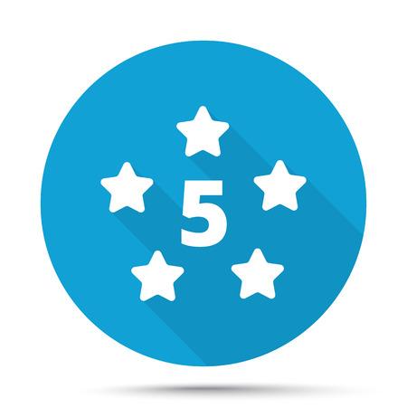 Weiß Five Star-Symbol auf blaue Taste auf weißem Hintergrund Vektorgrafik