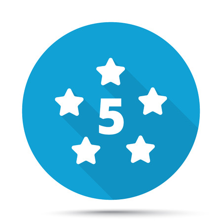 five star: White Five Star icon on blue button isolated on white