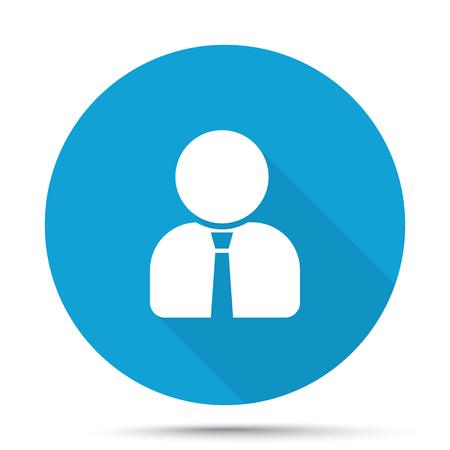 Blanco Perfil de usuario icono en el botón azul aislado en blanco