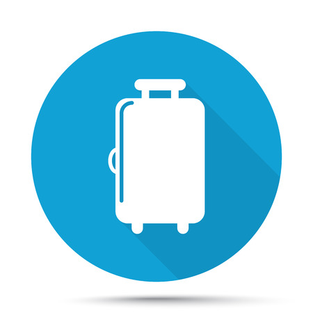 trolley case: White Luggage icon on blue button isolated on white