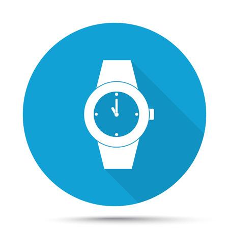 wrist: White Wrist Watch icon on blue button isolated on white Illustration