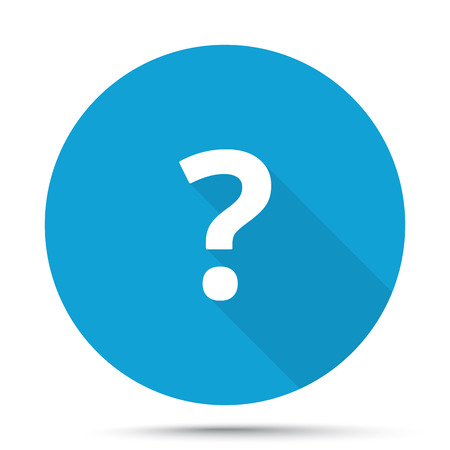 White Question Mark icon on blue button isolated on white