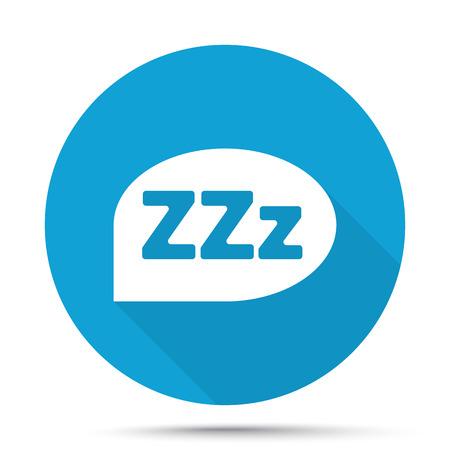zzz: White Sleep icon on blue button isolated on white