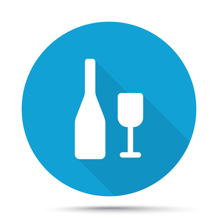 shots alcohol: White Wine icon on blue button isolated on white Illustration