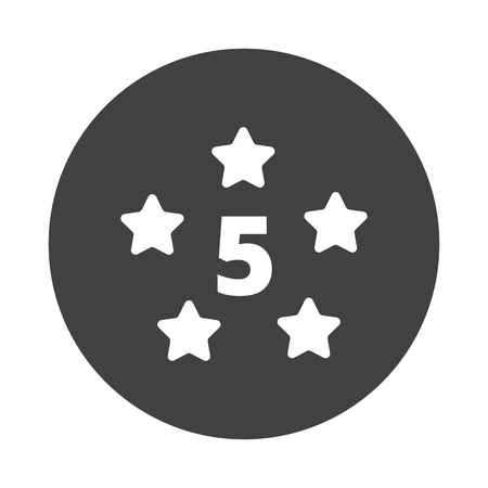 five star: White Five Star icon on black button isolated on white Illustration
