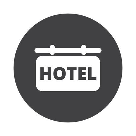 black button: White Hotel Sign icon on black button isolated on white Illustration
