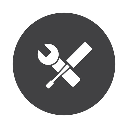 adjusting: White Service icon on black button isolated on white Illustration