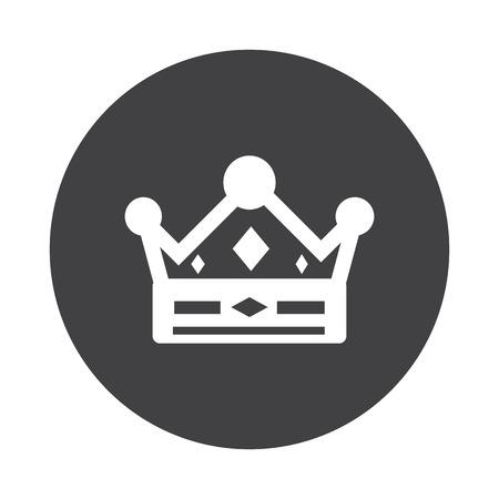 monarchy: White Crown icon on black button isolated on white Illustration