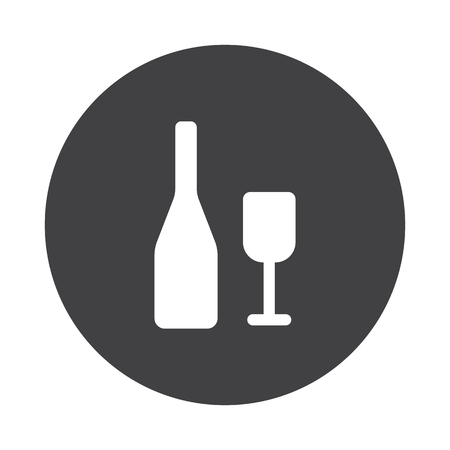 lifestyle dining: White Wine icon on black button isolated on white