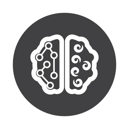 cerebro blanco y negro: White Brain icon on black button isolated on white Vectores